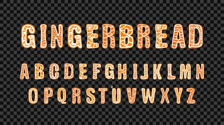 Vector Gingerbread Doodle Font Template, Colorful Lettering, Hand Drawn Cute Letters, Christmas Celebration, Typeset for a Greeting Cards.