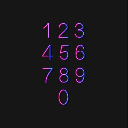 Vector Gradient Shining Numbers Set Isolated on Dark Background, Neon Design Elements Collection.
