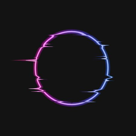 Vector Motion Light Circle Neon Template Isolated on Dark Background, Black Glitches Frame, Gradient Glowing Round Shape.