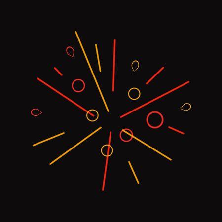 Vector Yellow, Orange and Red Colorful Firework Explosion, Neon Illustration, Line Art, Geometric Minimalistic Design Element. Illustration