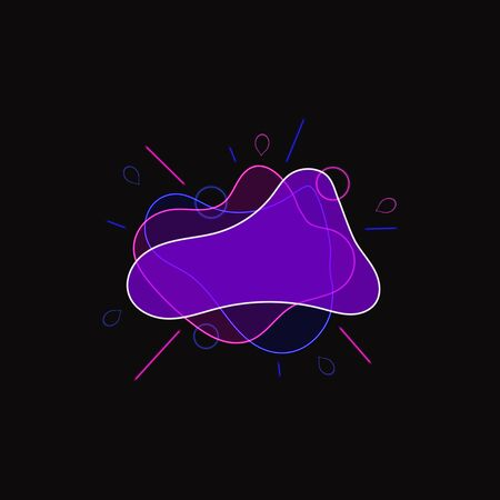 Vector Abstract Neon Liquid Shape Background, Violet Blue Colors, Bright Glowing Frame template, Blank Banner Sign. Illustration