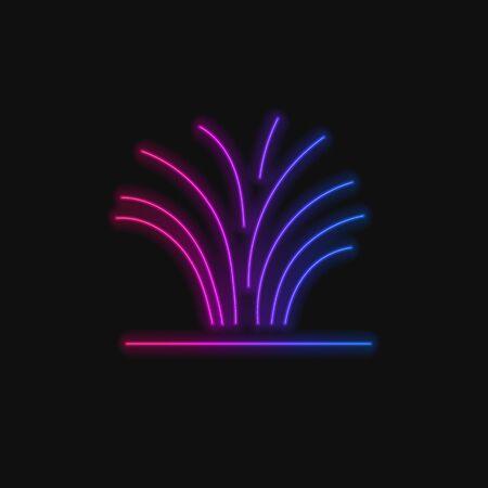 Vector Neon Gradient Firework Illustration, Colorful Icon Isoalted on Dark Background, Line Art Template.