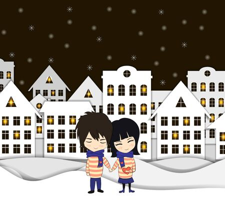 Vector Paper Art Style Winter in the Village with Couple of Lovers, Cute Illustration Template, Colorful Lights in the Windows.