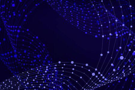 Fondo astratto di vettore, forme geometriche blu luminose, punti blu collegati, modello del contesto di tecnologia, struttura in bianco di affari.