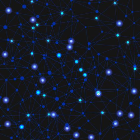 Vector Seamless Pattern, Shining Network Background, Black and Blue Colors, Glowing Lights. Illustration