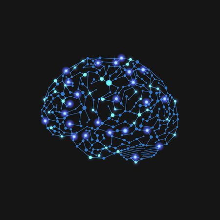 Vector Glowing Human Brain Illustration, Neural Connections, Bright Blue Lights, Isolated on Black Background.