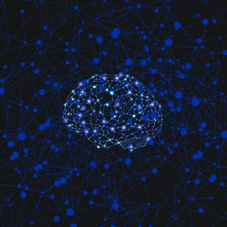 Vector Shining Neural Network Illustration, Digital Human Brain, Neural Connections, Colorful Background Template, Blue and Black Colors, Glowing Lights.