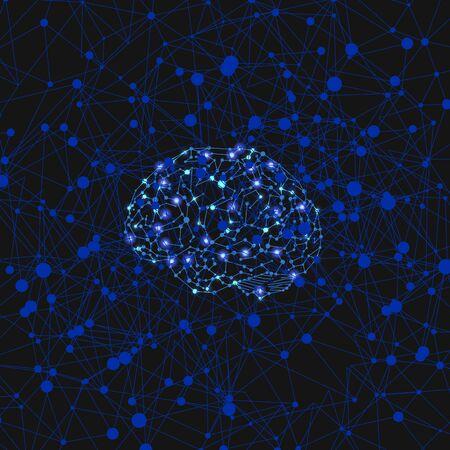 Wektorowa lśniąca ilustracja sieci neuronowej, cyfrowy ludzki mózg, połączenia neuronowe, kolorowe tło szablonu, kolory niebieski i czarny, świecące światła.