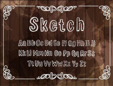 Vector Vintage Font, Sketched White Chalk Drawings, Scribble Lines, Rectangular Filigree Frame on Dark Grunge Wooden Background.