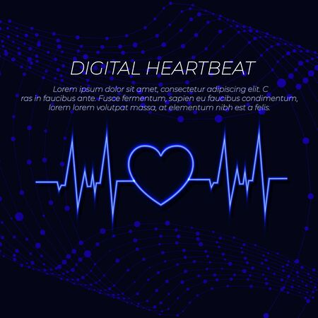 Vector Digtal Heart Beat and Abstract Background with Wireframes, Design Template, Layout, Colorful Background.