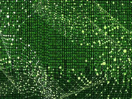 Vector Binary Code Background with Abstraction Wireframe Swirls, Matrix Data Backdrop Template, Bright Green Color.