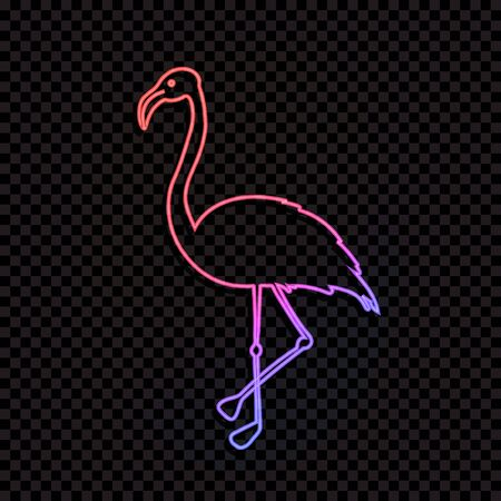 Vector Neon Line At Flamingo, Gradient Color Light, Outline Animal Silhouette Isolated on Dark Transparent Background.