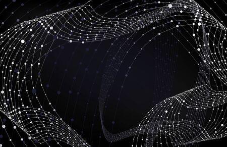 Vector Wireframes Wavy Technological Background, Business Presentation Backdrop, Black and White Monochrome Pattern. Illustration