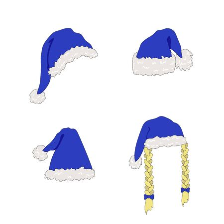 Vector Colorful Christmas Hats Set Isolated on White Background, Bright Blue Color, Icons Collection, New Year Holiday Decorations.