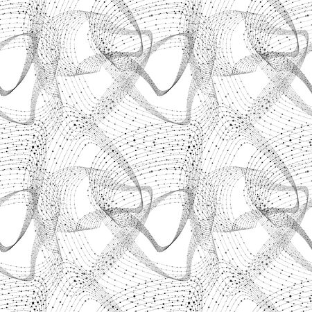 Vector Seamless Abstract Pattern with Wireframe Swirles, Technology Drawing Background, Connected Dots, Global Networking Concept, Black and White Illustration.