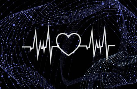 Vector Heart Beat Neon Glowing Icon on the Dark Blue Background with Grid Swirls, Technology Backdrop Template, Health Care Concept.