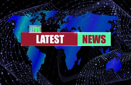 Vector Latest News Banner Background, Colorful World Map and Wireframe Abstract Swirly Lines on the Background, Deep Blue Color.
