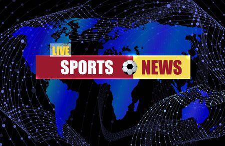 Vector Sports News Background with World Map Silhouette and Soccer Ball Sign, Deep Blue Color, Banner Template. Çizim