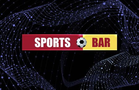 Vector Sports Bar Banner Template, Abstract Wireframe Swirls, Bright Colorful Sign on the Dark Background.