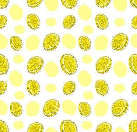 Vector Seamless Pattern with Hand Drawn Lemon Slices on White Background and Abstract Paint Spots, Cute Colorful Illustration, Doodle Drawings.