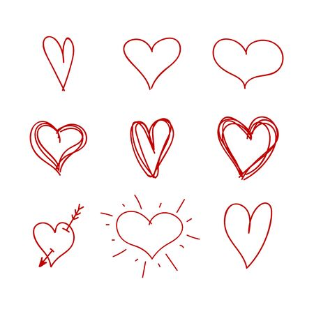 Vector Set of Nine Red Hand Drawn Hearts, Handdrawn Rough Marker Icons, Drawings Isolated on White Background.