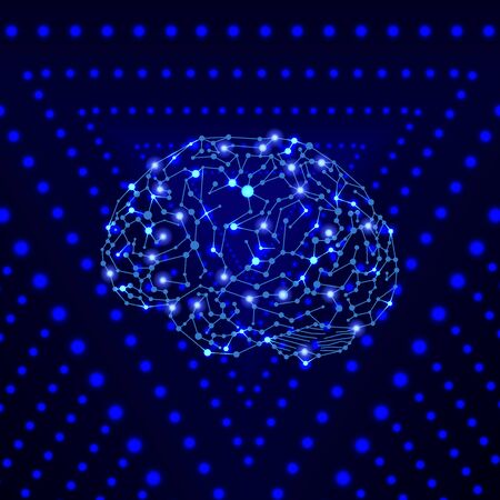 Vector Shining Human Brain on the Bright Blue Background, Wireframe Conected Dots, Colorful Illustrtaion Template, Neural Network Concept.