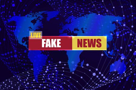 Vector Fake News Live Banner on the World Map, Bright Blue Background, Abstarct Geometric Shapes and Sign with Title.
