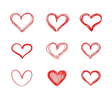 Vector Hand Drawn Hearts, Red Scribble Lines, Drawings Set Isolated on White Background, Doodle, Heart Shapes.