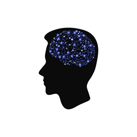 Vector Human Head Silhouette with Glowing Blue Brain, Icon Isolated on White Background, Neuron Connections Concept.