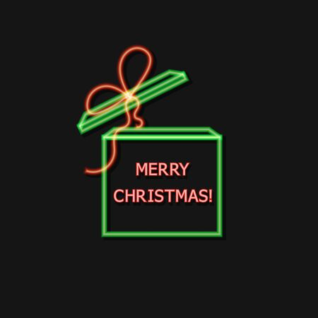 Vector Neon Christmas Gift Box, Red and Green Colorfs, Glowing Illustration Isolated on Dark Background, Greeting Card Icon. Illustration