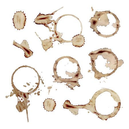Vector Set of Coffee Mug Spots Isolated on White Background, Brown Stains.