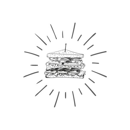 Vector Sandwich Sketch with Retro Shine, Hand Drawn illustration, Black and White Design Element, Isolated Icon. Illustration