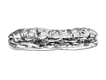 Vector Hand Drawn Big Sandwich, Sesame Seed Bun, Fast Food Illustration Isolated on White Background, Black Monochrome Drawing.