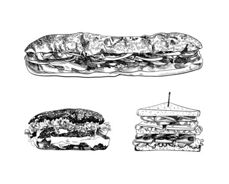 Vector Hand Drawn Fast Food Illustrations Set, Black Drawings Isolated on White Background, Different Sandwiches and Burgers. Illustration