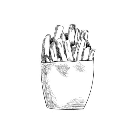 Vector French Fries Vintage Drawing Isolated on White Background, Black and White Illustration, Potato in the Package for Take Away, Fast Food.