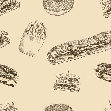 Vector de patrones sin fisuras, fondo vintage dibujado a mano de comida rápida, hamburguesas, sándwiches, donas, papas fritas, plantilla de ilustración.