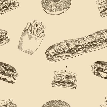 Wektor wzór, Fast Food ręcznie rysowane tło, hamburgery, kanapki, pączki, frytki, szablon ilustracja.