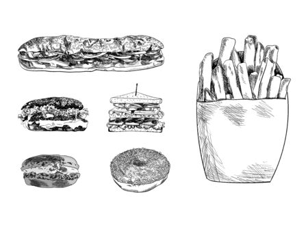 Vector Hand Drawn Fast Food Sketches Set Isolated on White Background, Vintage Black and White Drawings Collection, Burger, Sandwiches, Macaroon, Donut, French Fries.