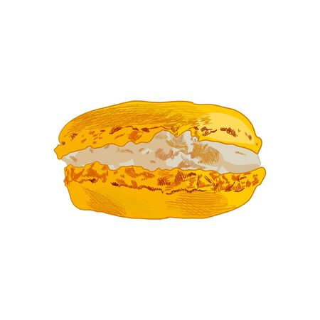 Vector Hand Drawn Colorful Yellow Macaroon, Sketched Illustration Isolated on White Background, Delicios Bakery Product Drawing. Illustration