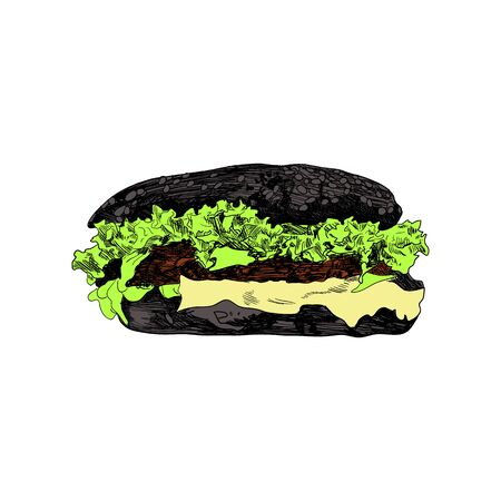 Vector Colored Black Bun Burger Sketch, Hand Drawn Colorful Illustration Isolated on White Background, Vintage Style Drawing Template.