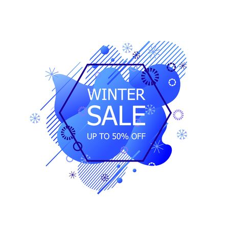 Vector Winter Sale Tag, Up to 50 Discount, Offer Label Isolated on White Background, Geometric Icon with Snowflakes, Holiday Season.