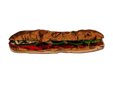Vector Colorful Hand Drawn Submarine Sandwich Illustration Isolated on White Background, Hatch Drawing, Painting Temlate. Stock Illustratie