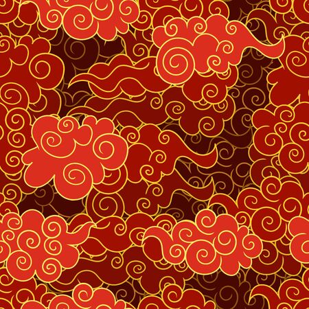 Vector Seamless Pattern, Oriental Red and Golden Clouds, Colorful Illustration, 3D Layers, Paper Art Style, Background Template.