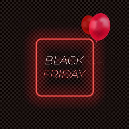 Vector Black Friday Neon Frame with Red Balloons Isolated on Dark Transparent Background. Illustration