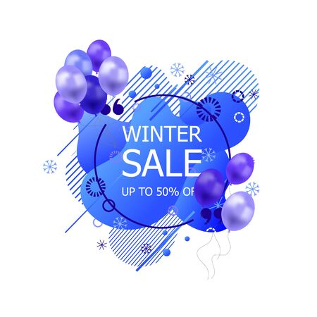 Vector Winter Sale Tag, Abstract Liquid Shapes, Geometric Pattern and Snowflakes with Blue Balloons, Icon Isolated on White Background. Illustration
