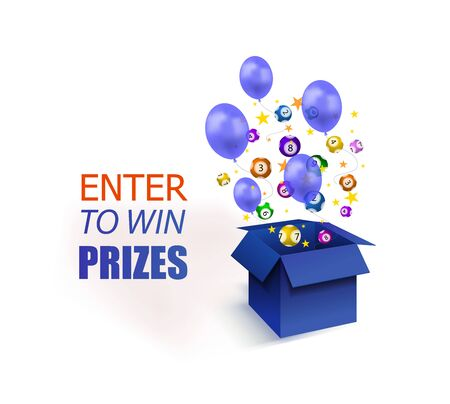 Vector Enter to Win Prizes Banner, Blue Box with Stars, Lottery Balls and Balloons Isolated on White Backgoround, Colorful Illustration.