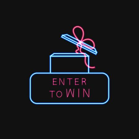 Vector Neon Enter to Win Sign, Open Glowing Gift Box with a Bow, Frame and Text, Shining Illustration Template.