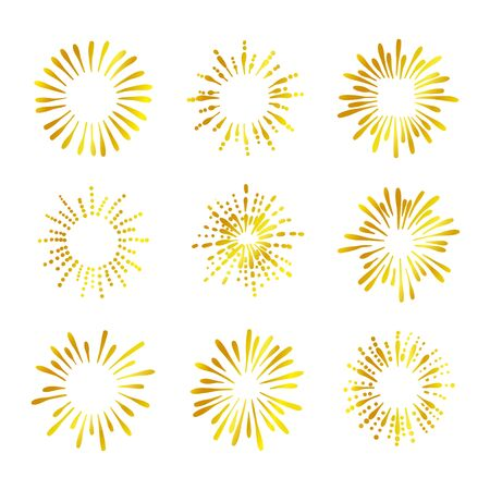Vector Retro Golden Shine Icons Isolated on White Background, Gradient Gold Color, Doodle Fireworks Set. Illustration