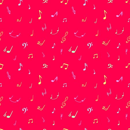 Vector Bright Pink Music Background, Colorful Musical Notes, Backdrop Template, Bright Vivid Colors. Illustration