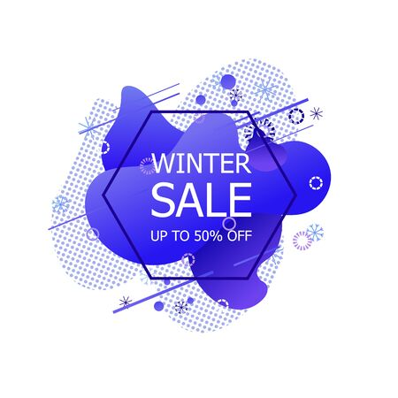 Vector Winter Sale Label, Discount Sign, Offer Label Isolated on White Background, Geometric Icon with Snowflakes, Holiday Season.